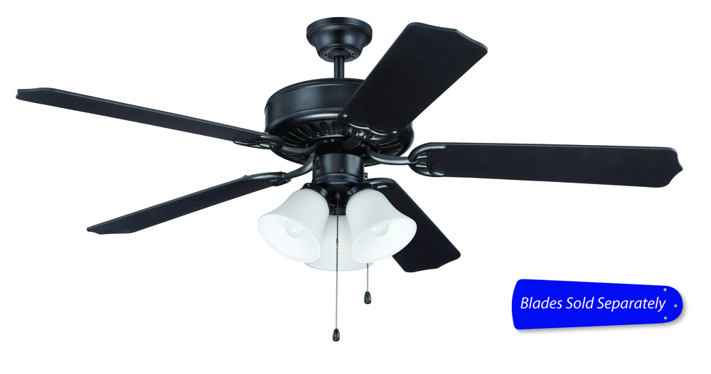 "Pro Builder 205 52"" Ceiling Fan with Light in Flat Black (Blades Sold Separately)"