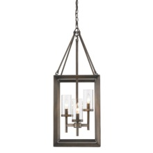Golden 2073-3P GMT - 3 Light Pendant (Gunmetal Bronze & Clear Glass)