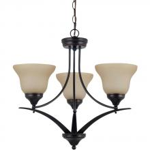 Sea Gull 31173BLE-710 - Brockton Fluorescent Three Light Chandelier in Burnt Sienna with Amber Scavo Glass