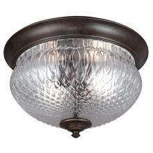 Generation Lighting - Seagull 7826402BLE-780 - Fluorescent Garfield Park Two Light Outdoor Ceiling Flush Mount in Burled Iron with Clear Glass