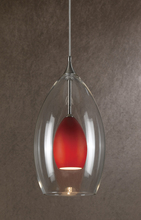 "CAL Lighting UP-1048/6-RU - 8.8"" Tall Glass And Metal Pendant With Brushed Steel Cord"