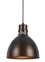 "CAL Lighting UP-1110-6-BS - 10.75"" Tall Metal Pendant In Rust"