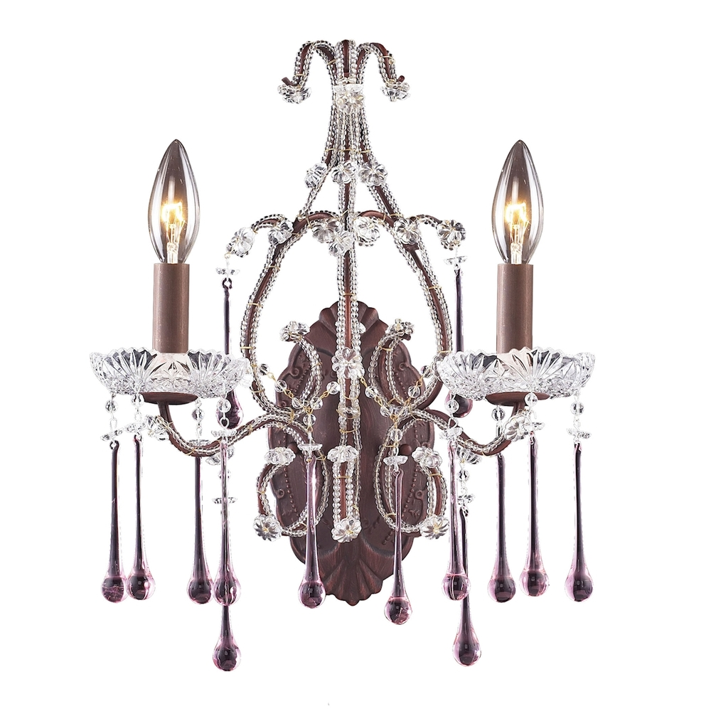 Opulence 2 Light Wall Sconce In Rust And Rose Cr