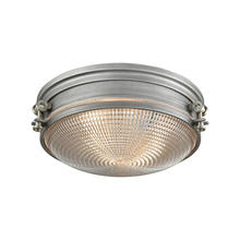 ELK Lighting 16123/2 - Sylvester 2-Light Flush Mount in Weathered Zinc and Satin Nickel with Clear Pressed Glass