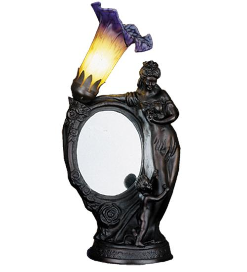 "16""H Mother & Child Mirror Amber and Blue Accent Lamp"